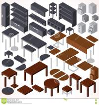 Isometric Office Furniture. Vector Collection Stock Vector ...