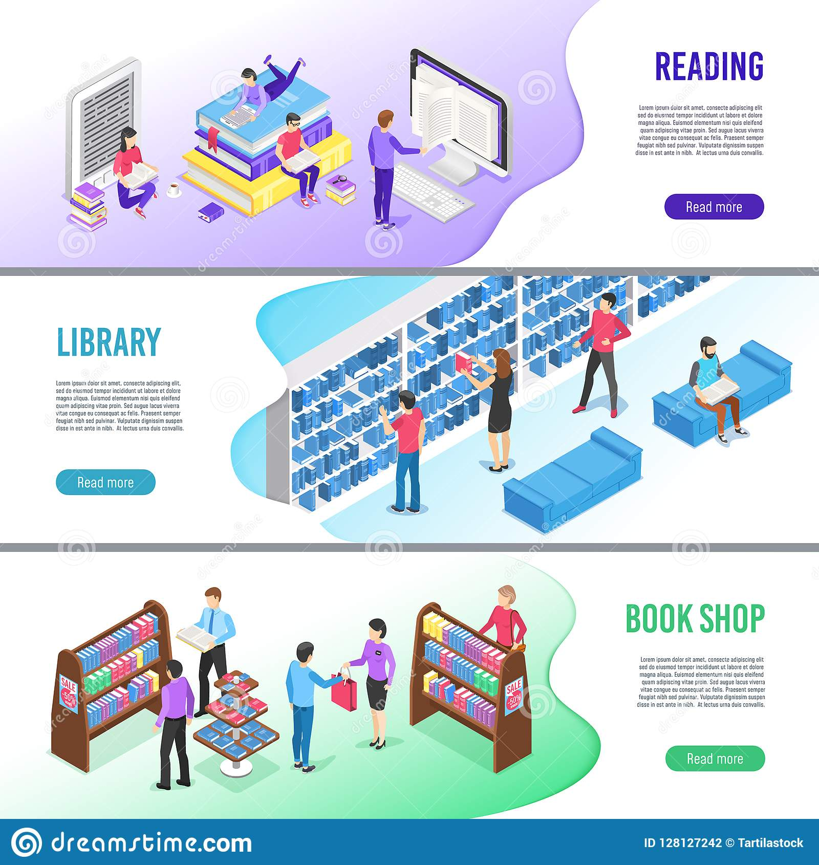 Read The Book Online Isometric Read Book Banner Online Library Books With Bookmark