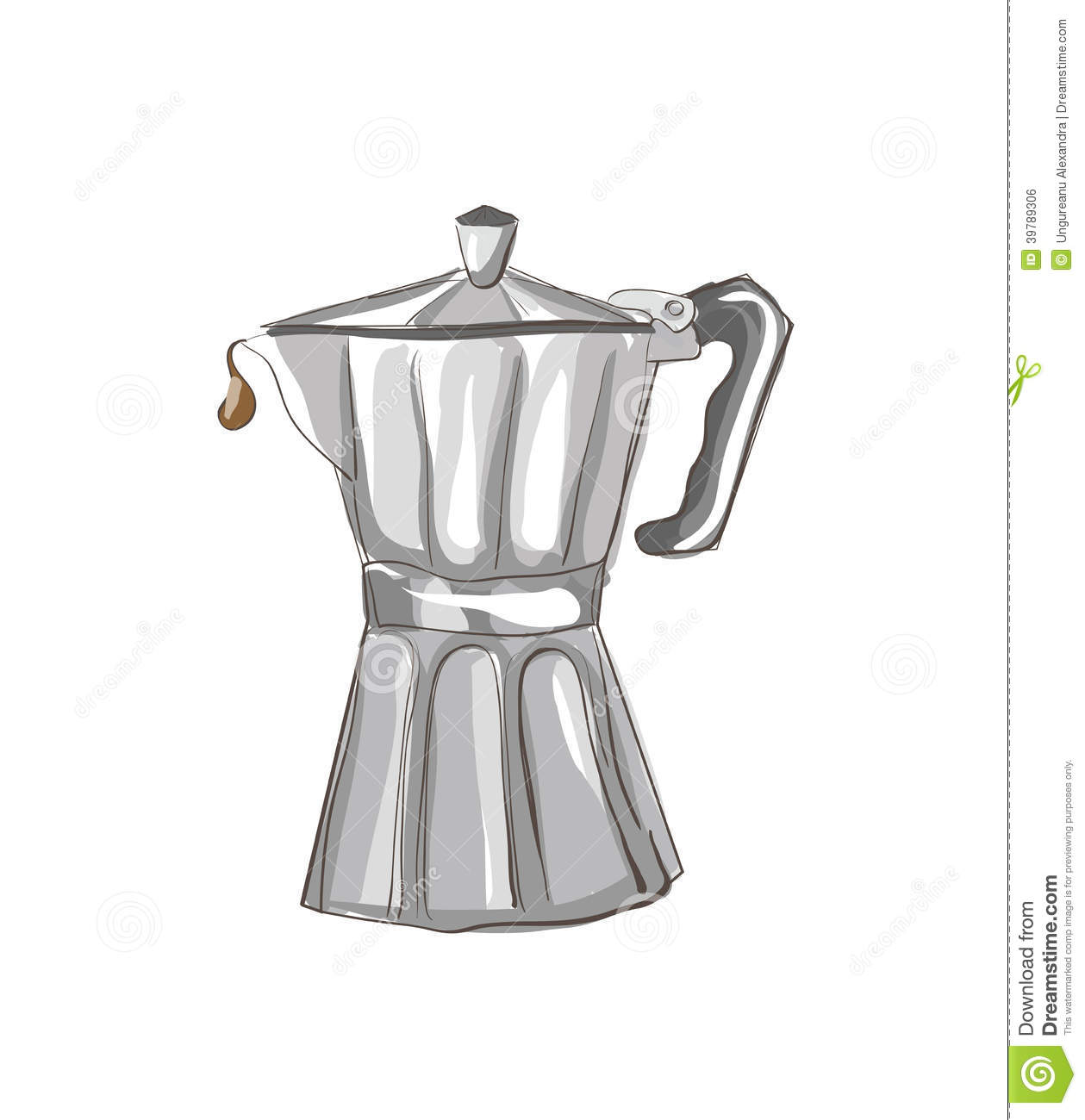Coffee Art Maker Set Italian Coffee Maker Sketch Stock Vector Image 39789306