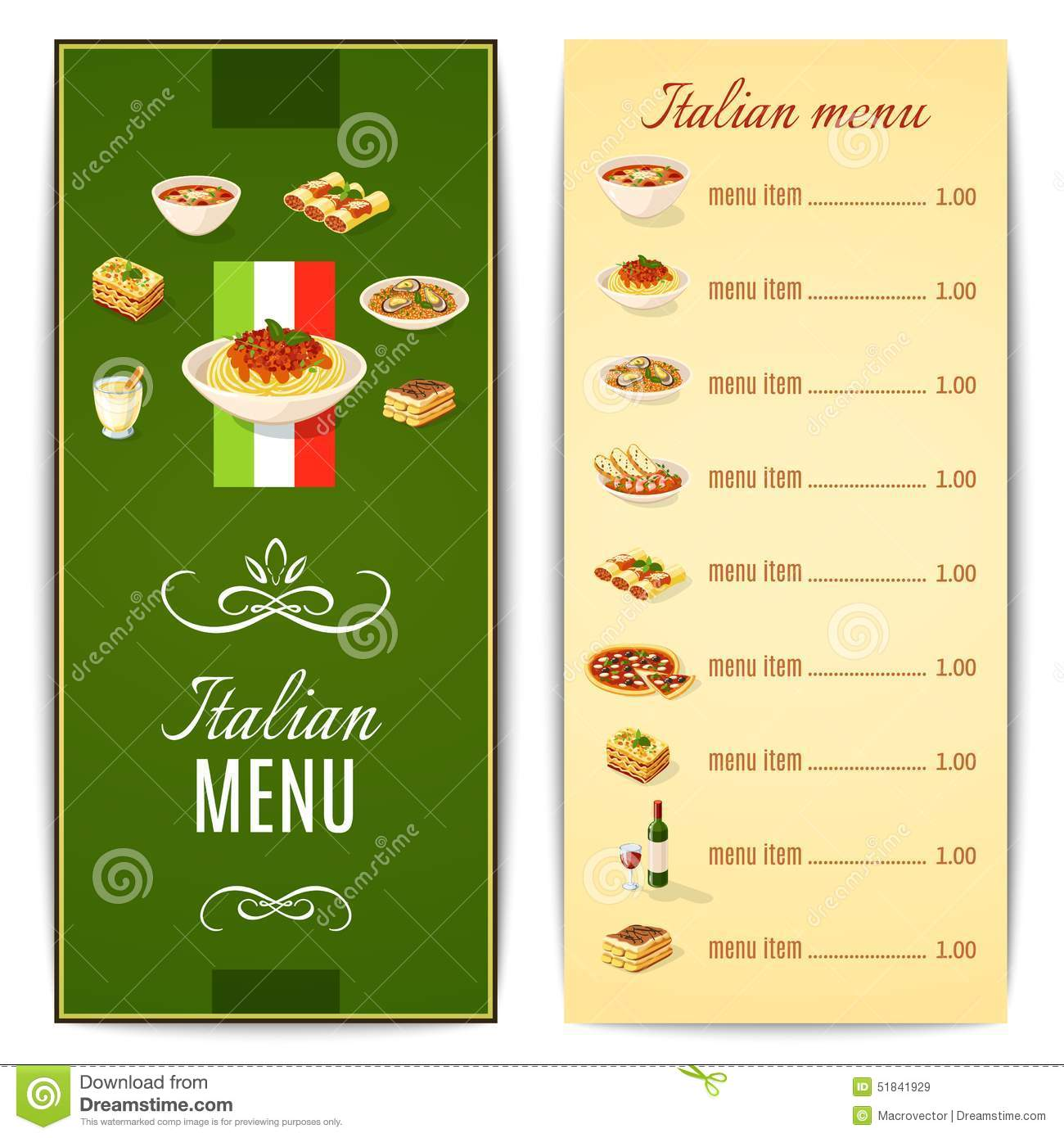 21 Diner Menu Tips Italian Food Menu Stock Vector Illustration Of Background