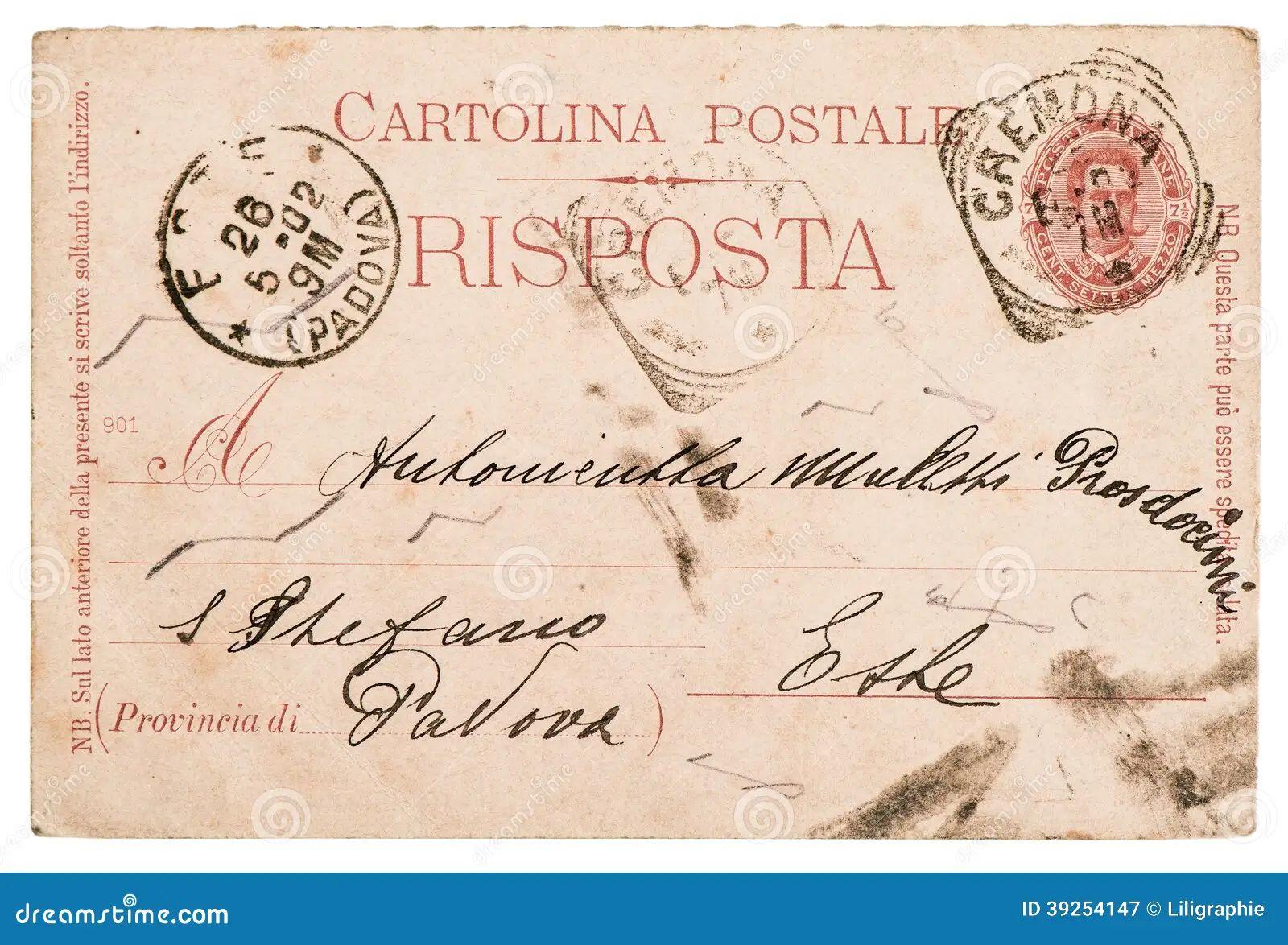 Handwritten italian letter old paper postcard