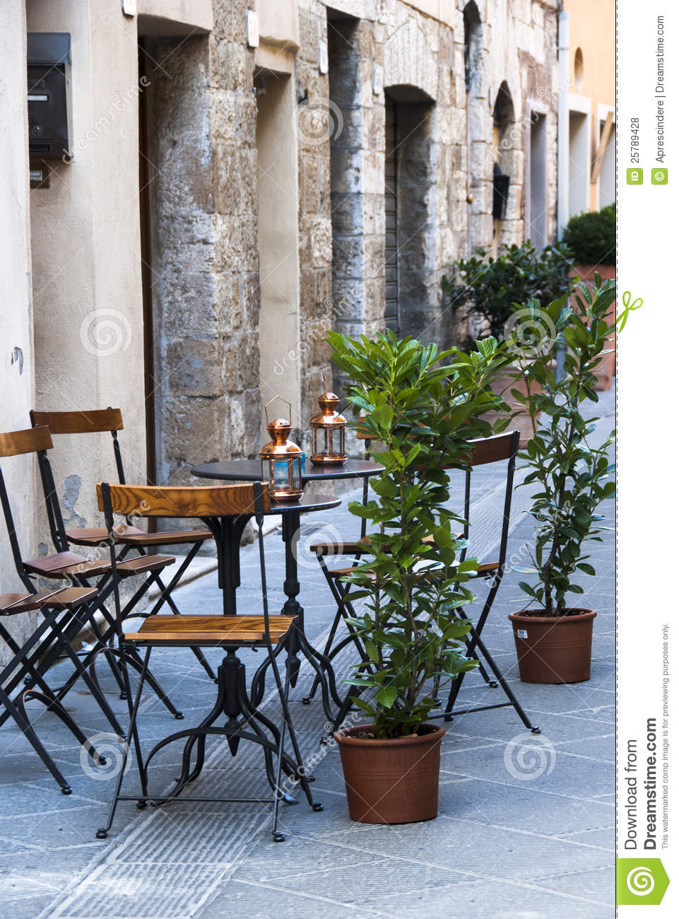 Comfortable Chairs Italian Outdoor Cafe Stock Photo. Image Of City, Italy