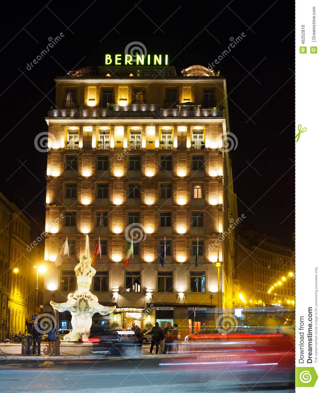 Albergo Bernini Italy Rome Hotel Bernini At Night From Across The Street