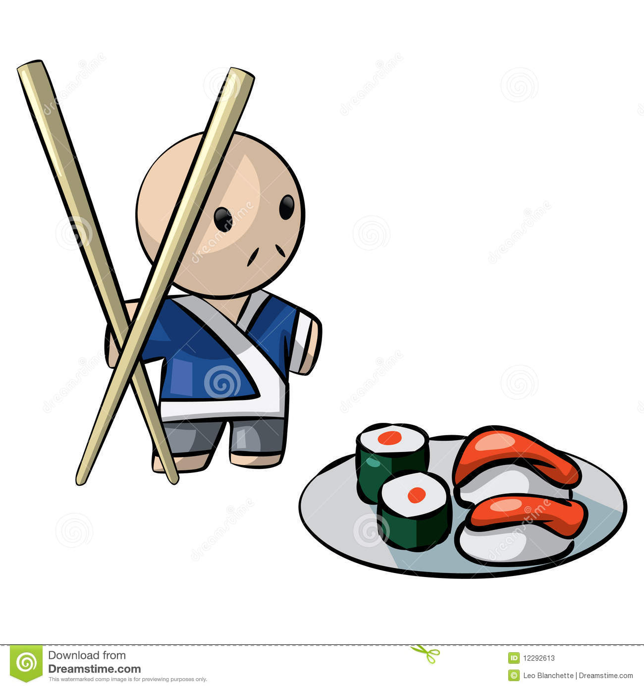 Cute Cartoon Sushi Wallpaper Japanese Chef Serving Sushi With Giant Chopsticks Stock