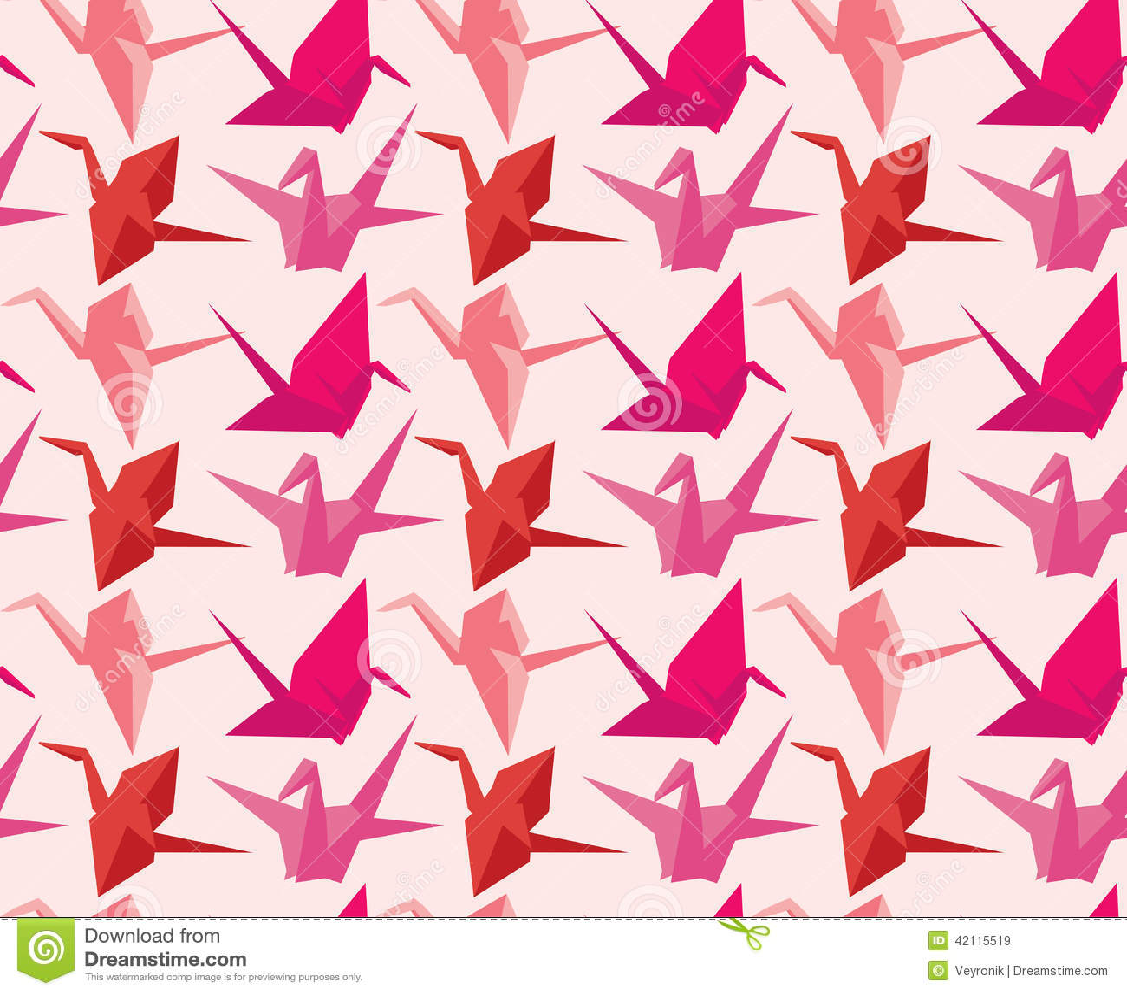 Animal Print Pink Wallpaper Japanese Paper Crane Pattern Stock Vector Image 42115519