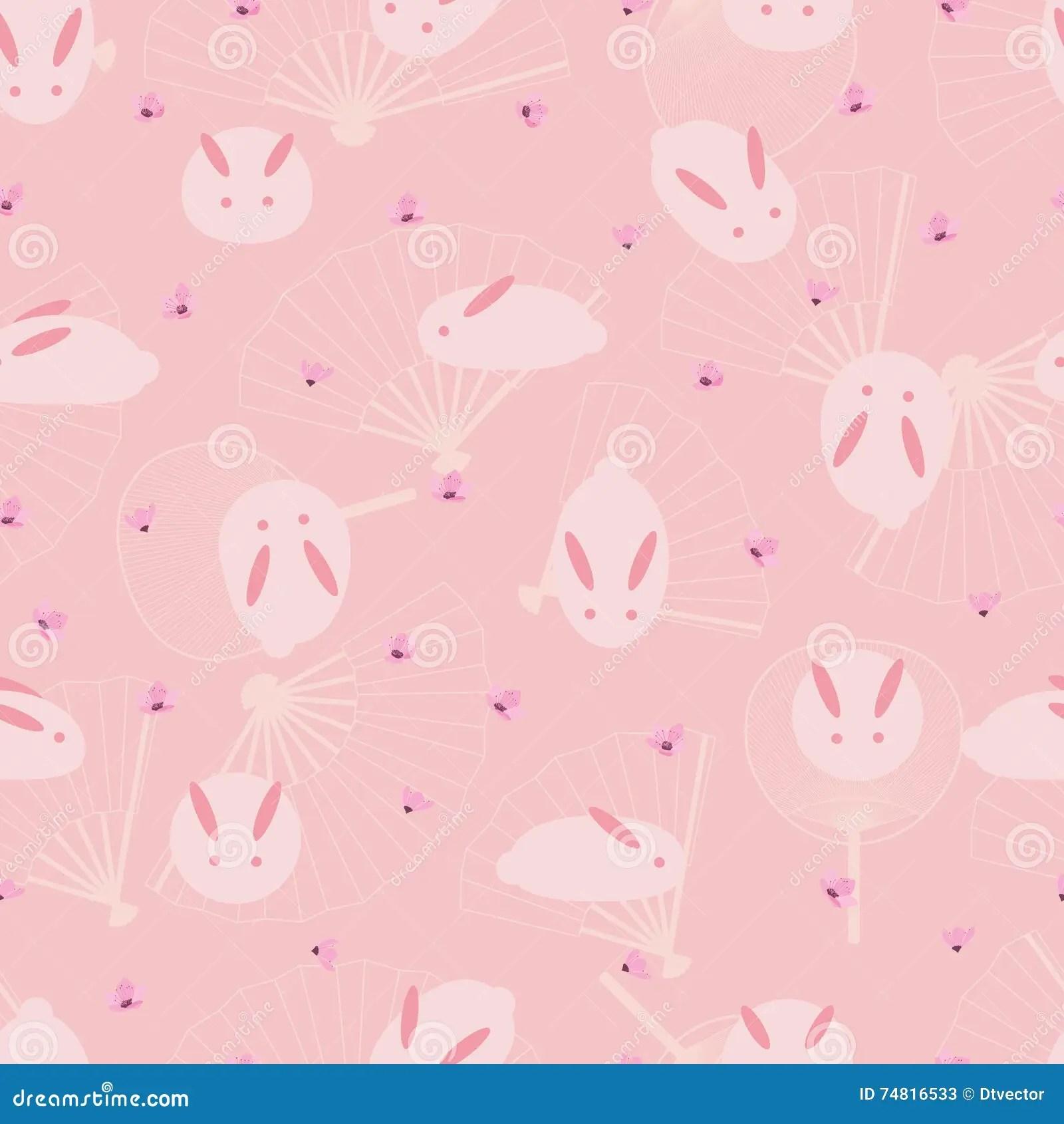 Animal Print Iphone 5 Wallpaper Japanese Rabbit Fan Pink Seamless Pattern Stock Vector