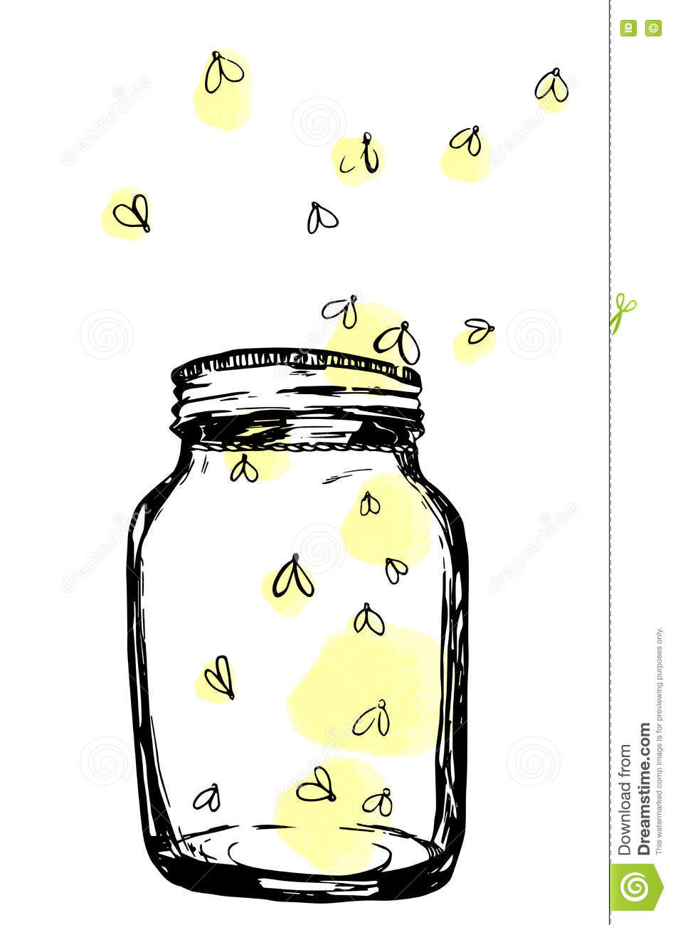 Firefly Jar Art Jar With Fireflies Hand Drawn Artistic Illustration For Design