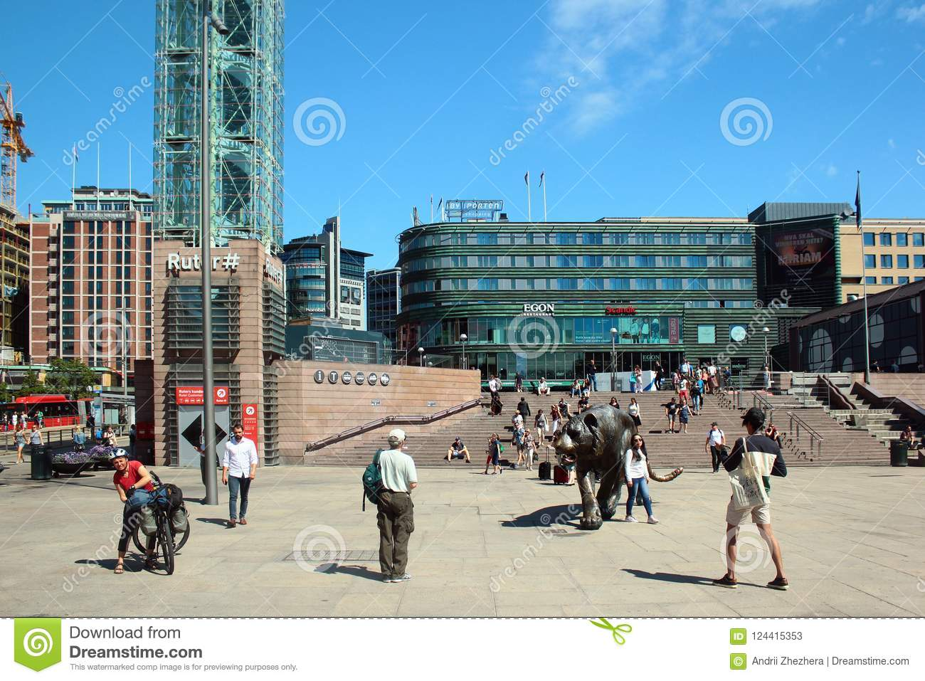 Norwegian Oslo Jernbanetorget Square In Oslo Norway Editorial Stock Photo