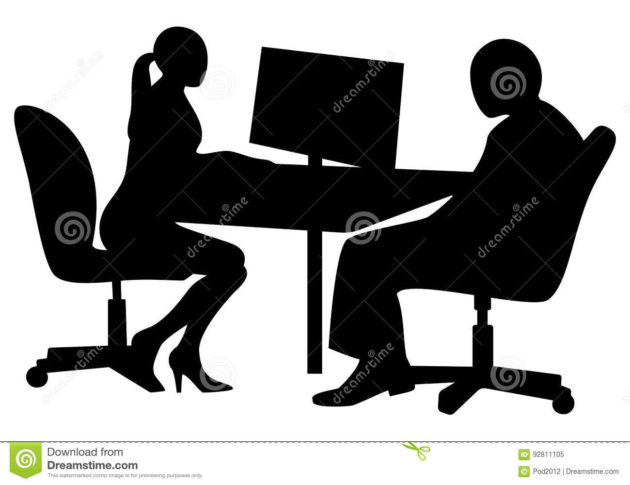 Bureau Interviewer Professionnel Job Interview Stock Vector Illustration Of Recruitment