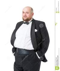 Jolly Fat Man In Tuxedo And Bow Tie Shows Emotions Stock ...
