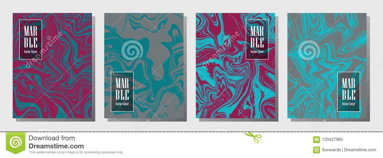 Party Flyer Or Journal Cover Marble Background Patterns Vector Set