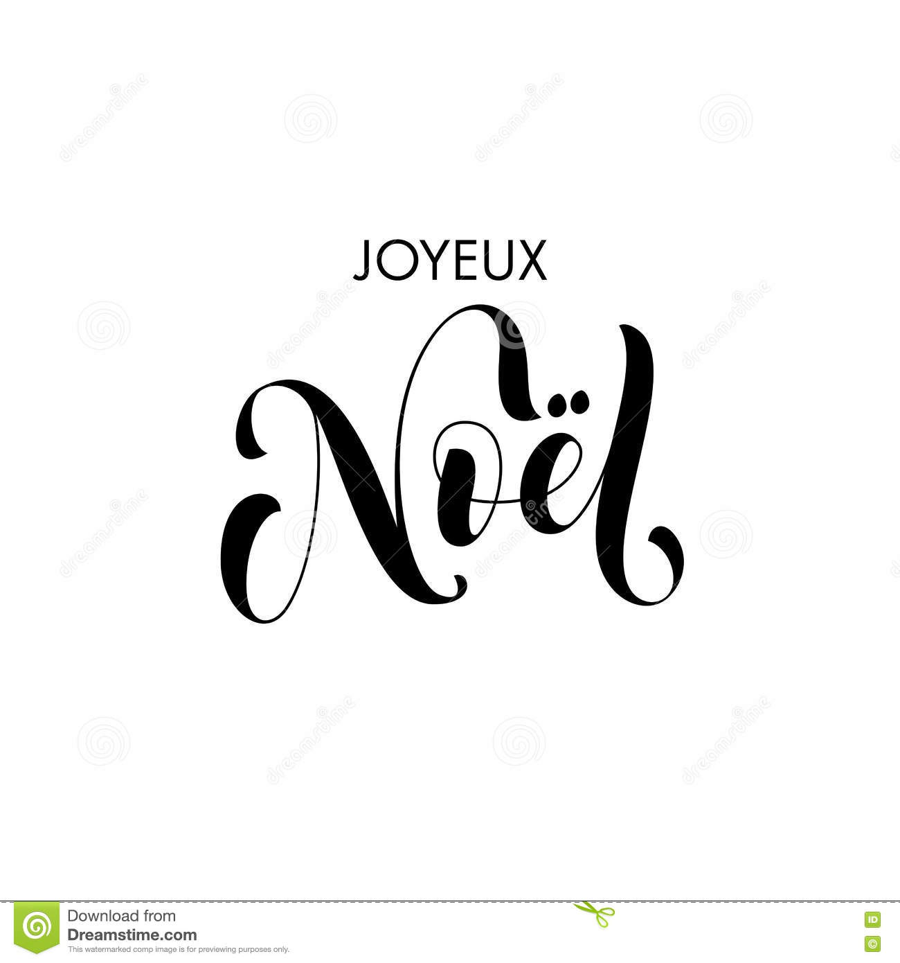 Font Kalligraphie Joyeux Noel French Merry Christmas Calligraphy Text Greeting Stock