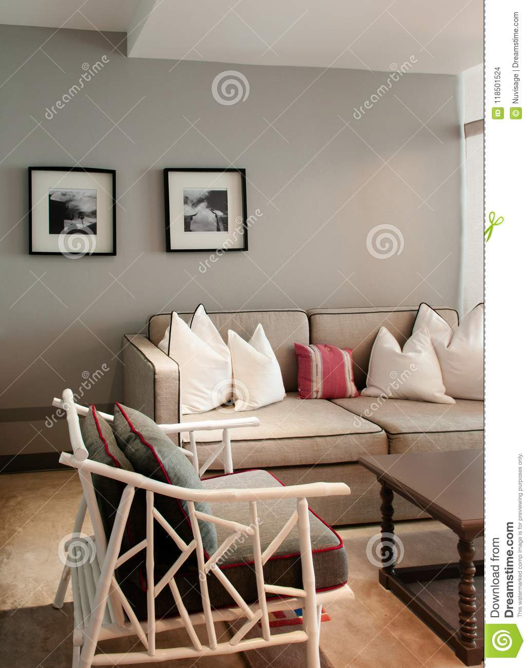 Contemporary Colonial Style Living Room With Well Design Furnitures Editorial Stock Image Image Of Chair Pillow 118501524