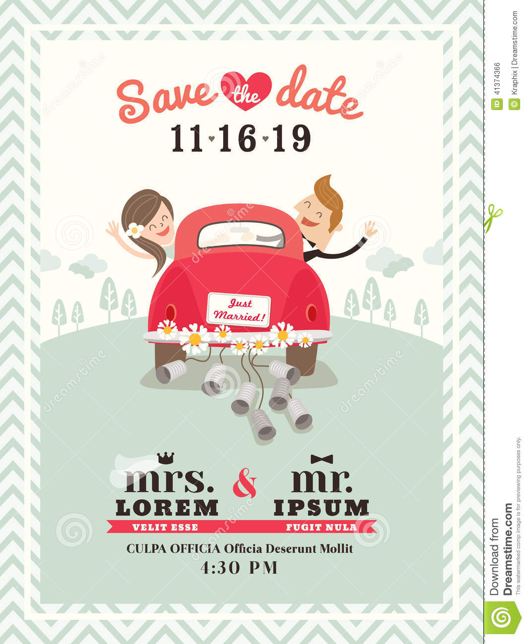Cute Married Couple Hd Wallpapers Just Married Car Wedding Invitation Design Stock Vector