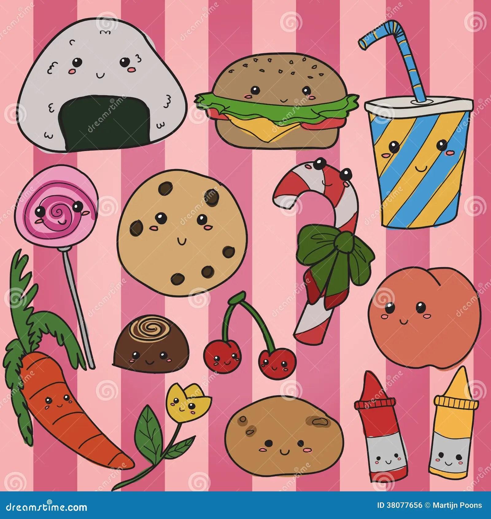 Pink Animal Print Wallpaper Kawaii Food Hand Drawn Stock Vector Image Of Mascot