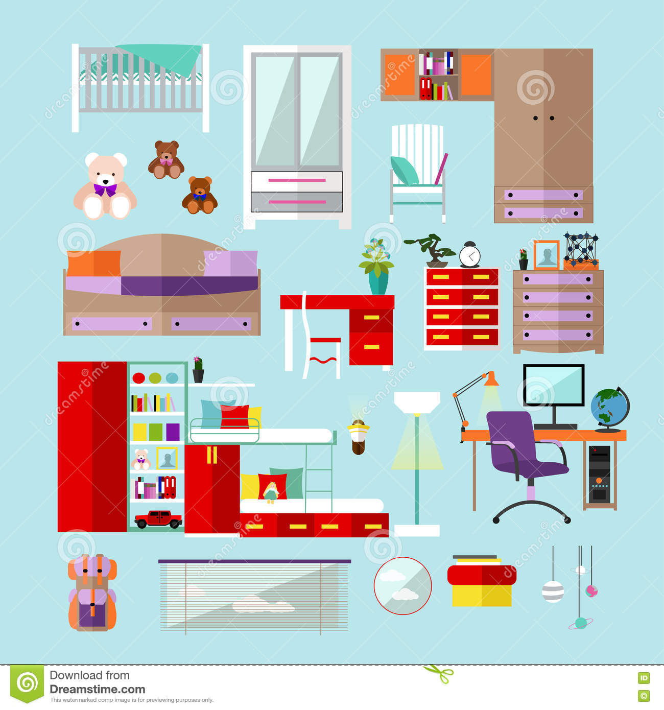Oggetti Camera Da Letto Bedroom Interior Flat Vector Illustration Vector