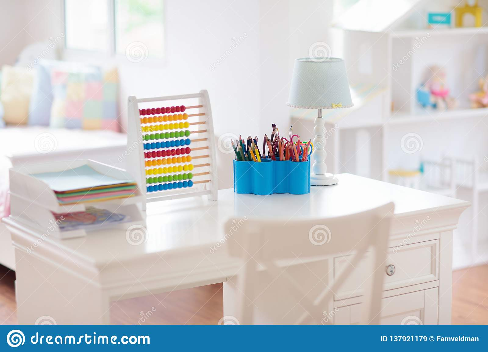 Home Interior Kids Kids Bedroom With Wooden Desk And Doll House Stock Image Image