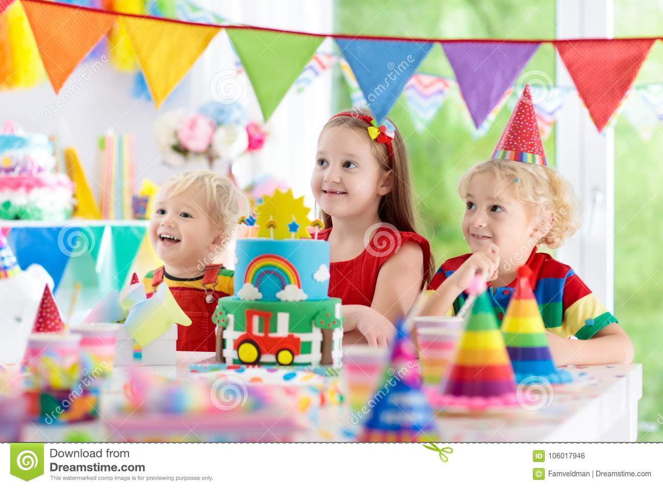 Little Kid Birthday Party Kids Party Birthday Cake With Candles For Child Stock Photo