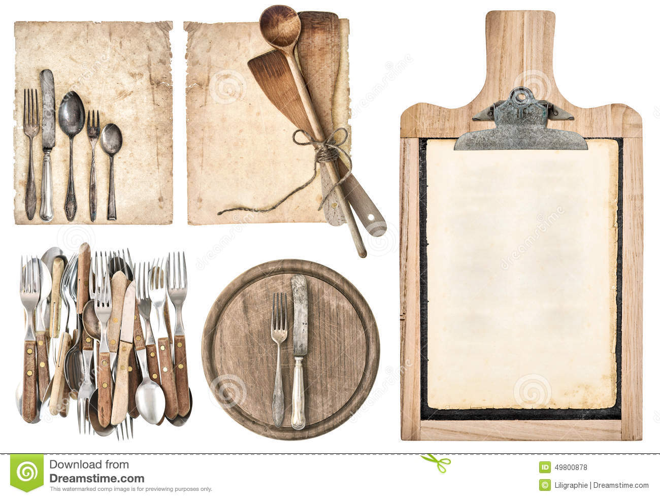Bilder Küchenutensilien Kitchen Board Aged Recipe Paper And Vintage Cutlery Stock