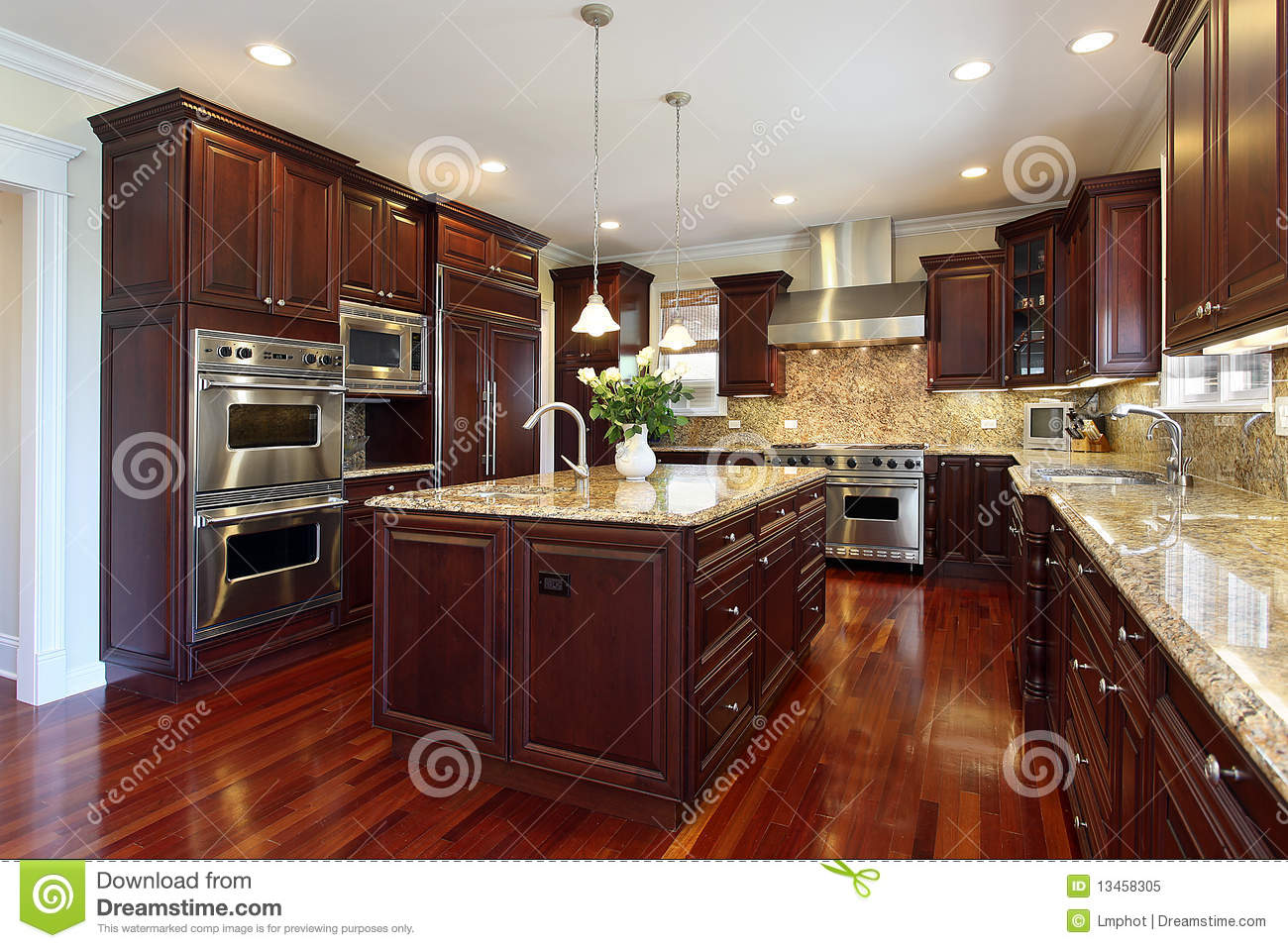Design Decorate New House Kitchen With Cherry Wood Cabinetry Royalty Free Stock