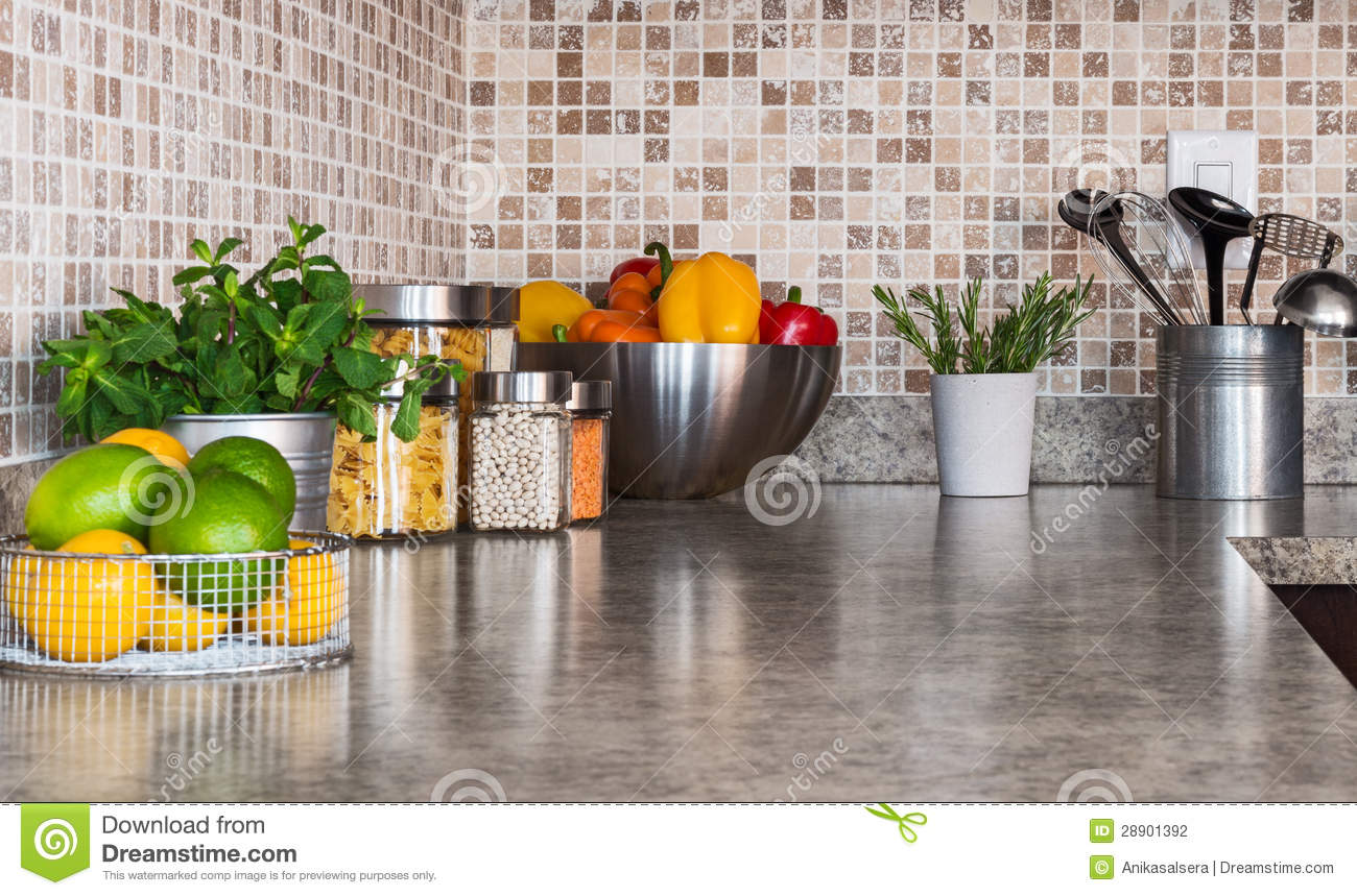 stock photography kitchen countertop food ingredients herbs image countertop kitchen Kitchen countertop with food ingredients and herbs