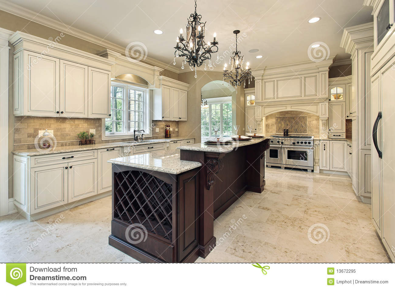 Kitchen Floor Plans Island Kitchen With Double Deck Island Royalty Free Stock Photo