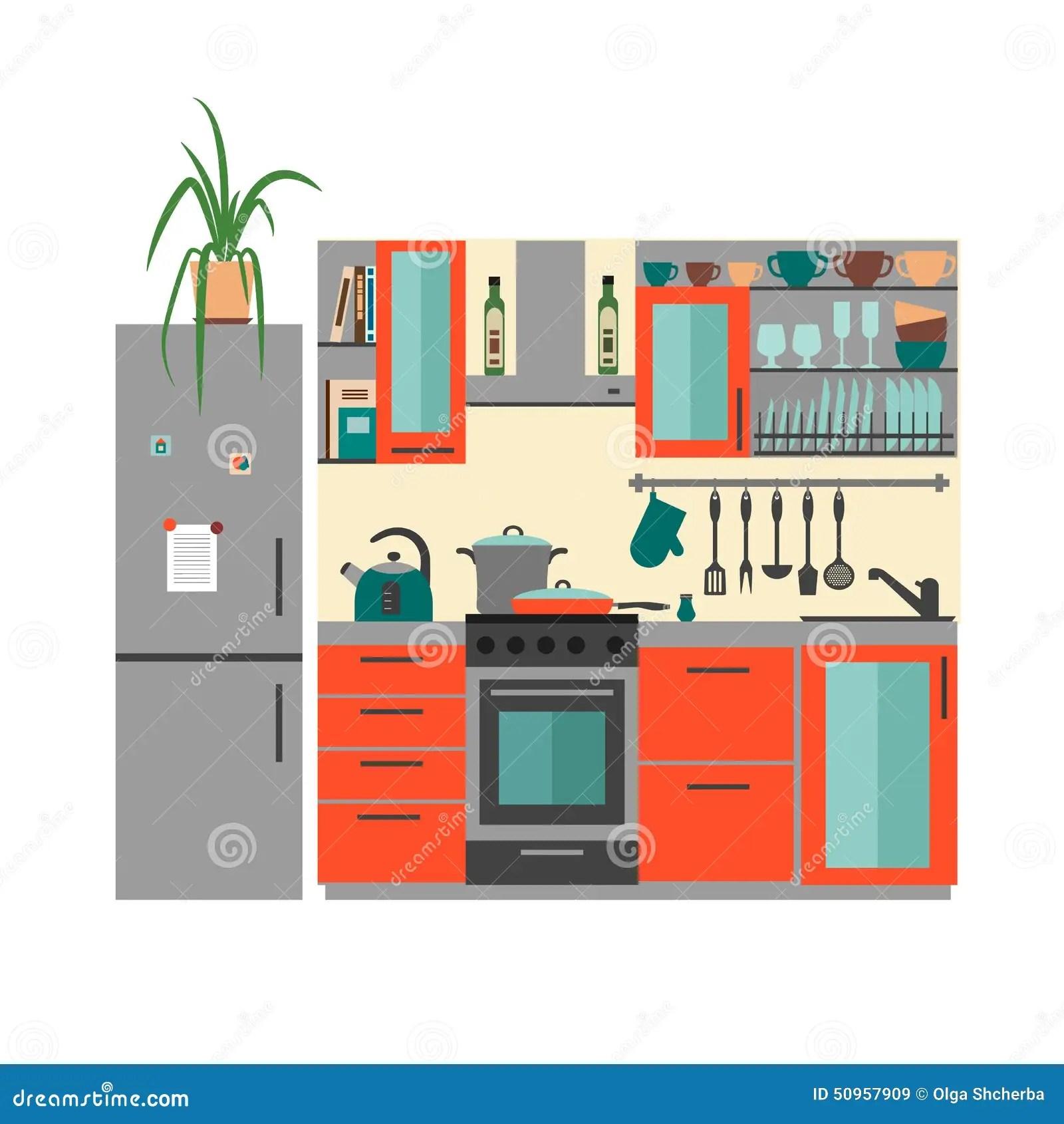 kitchen furniture flat style vector illustration modular kitchen furniture kolkata howrah west bengal price