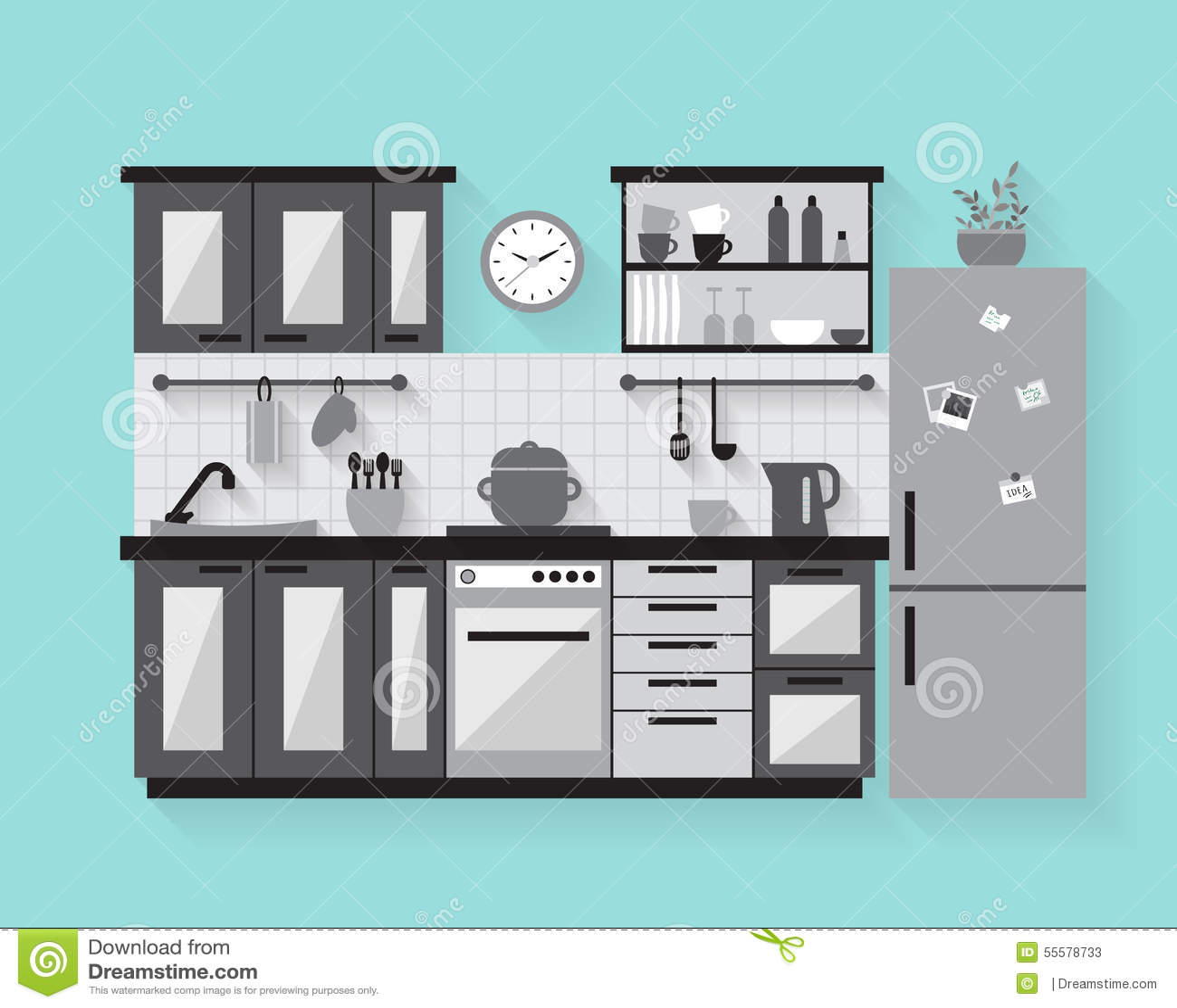 kitchen furniture long shadows flat style vector modular kitchen furniture kolkata howrah west bengal price
