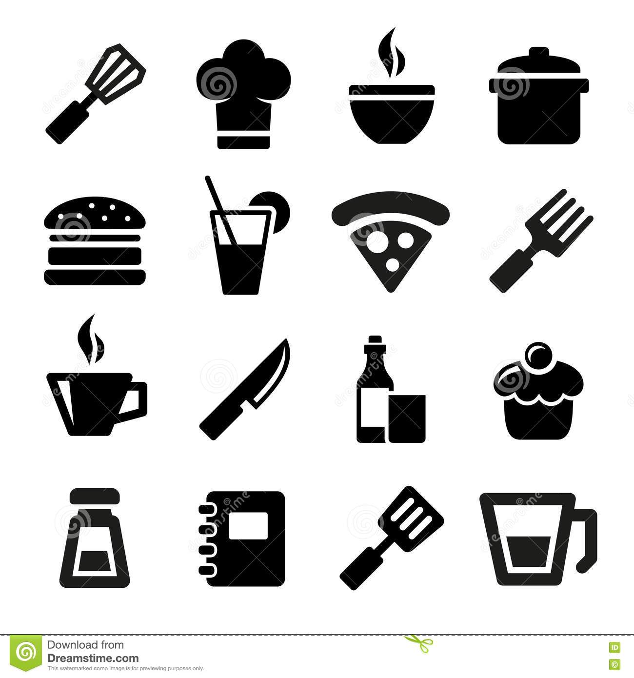 Piktogramm Küche Kitchen Icons Stock Vector Illustration Of Food Home