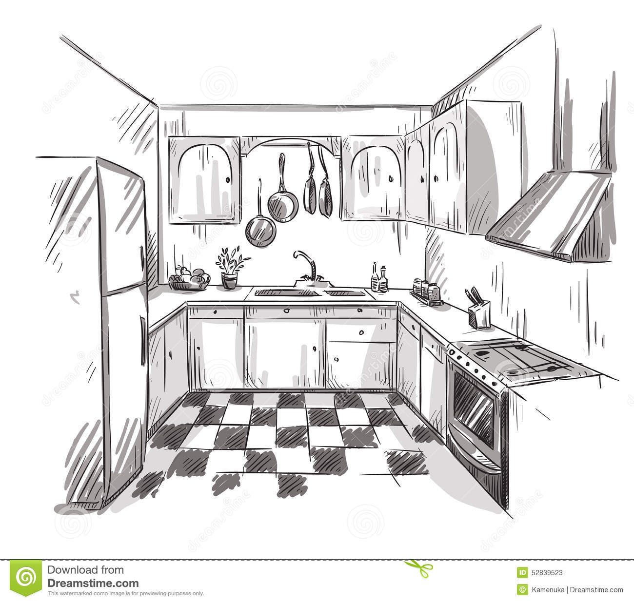 Kuche Bar Fridge Review Kitchen Interior Drawing Vector Illustration Stock Vector