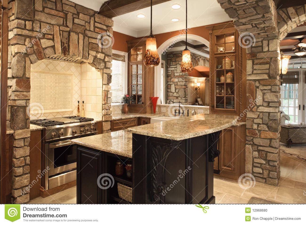 Cuisine Pierre Et Bois Kitchen Interior With Stone Accents In Affluent Ho Stock Photo