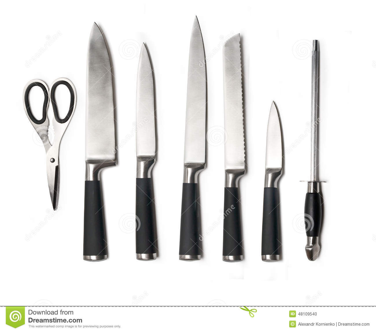 kitchen knife set steel knives isolated white soft shadows includes white handled italian kitchen knives