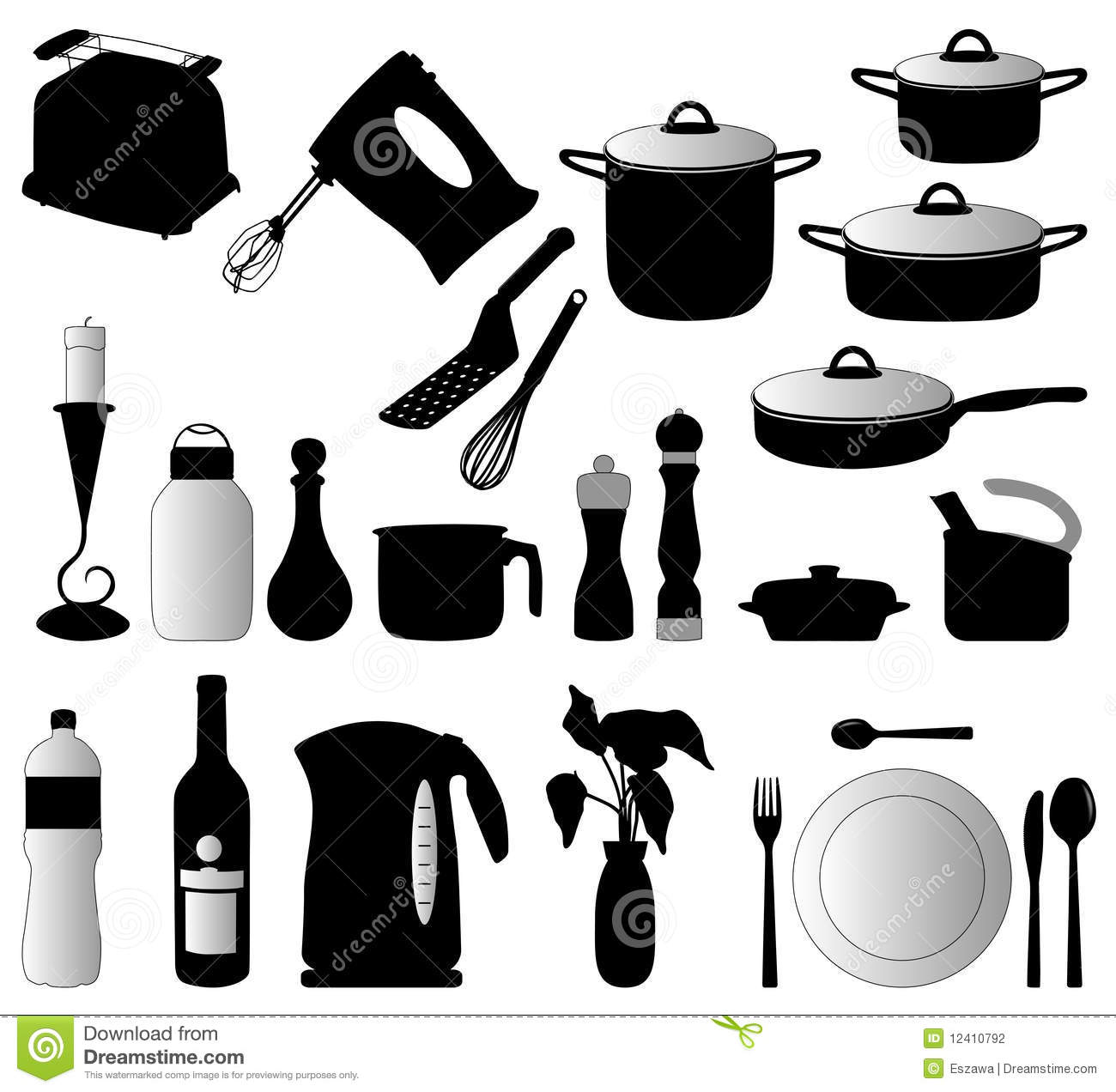 Silhouet Keuken Kitchen Objects Silhouette Vector Stock Photography