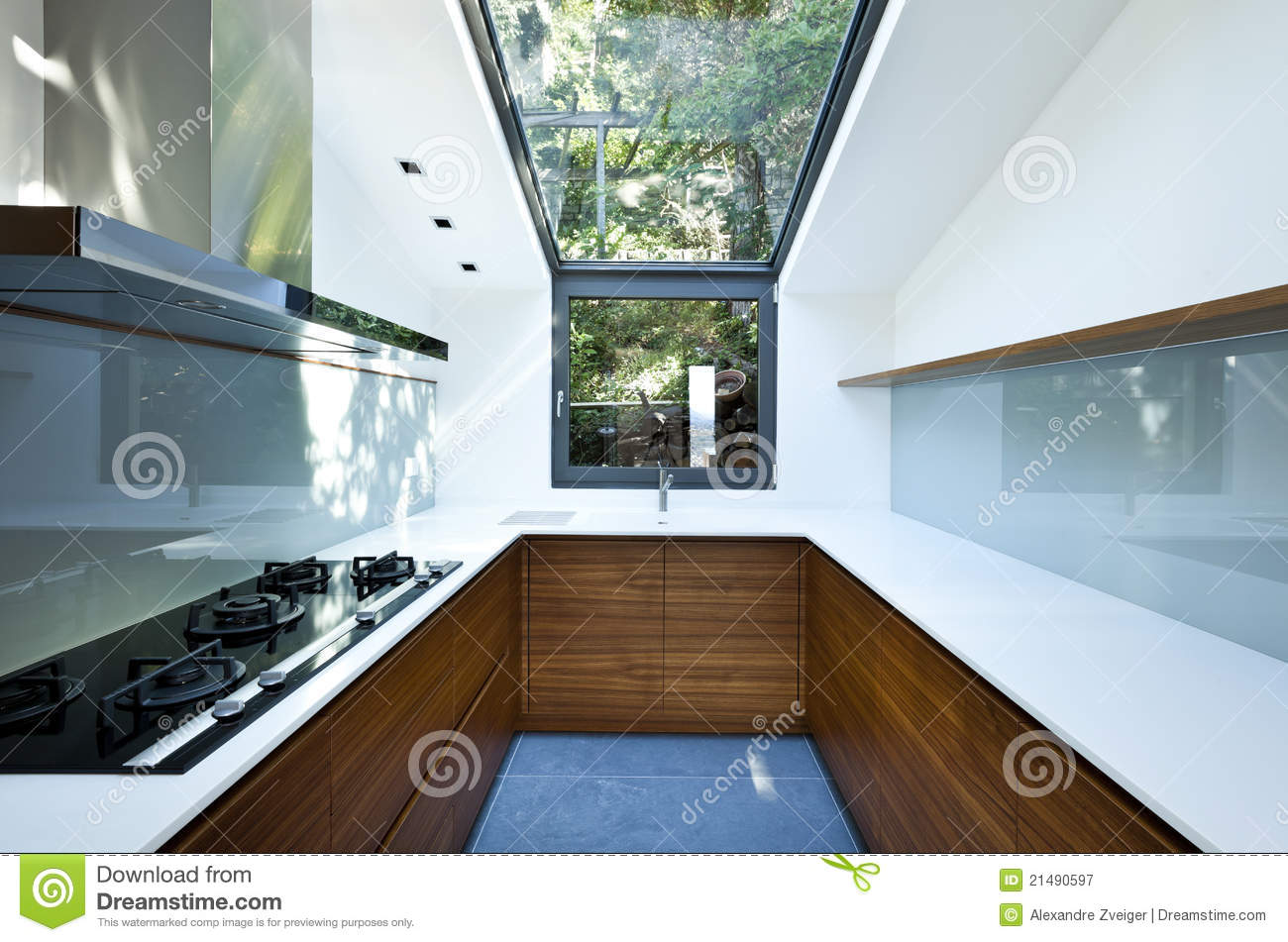 Balkon Dachowy Kitchen With Panoramic Window Stock Image Image 21490597