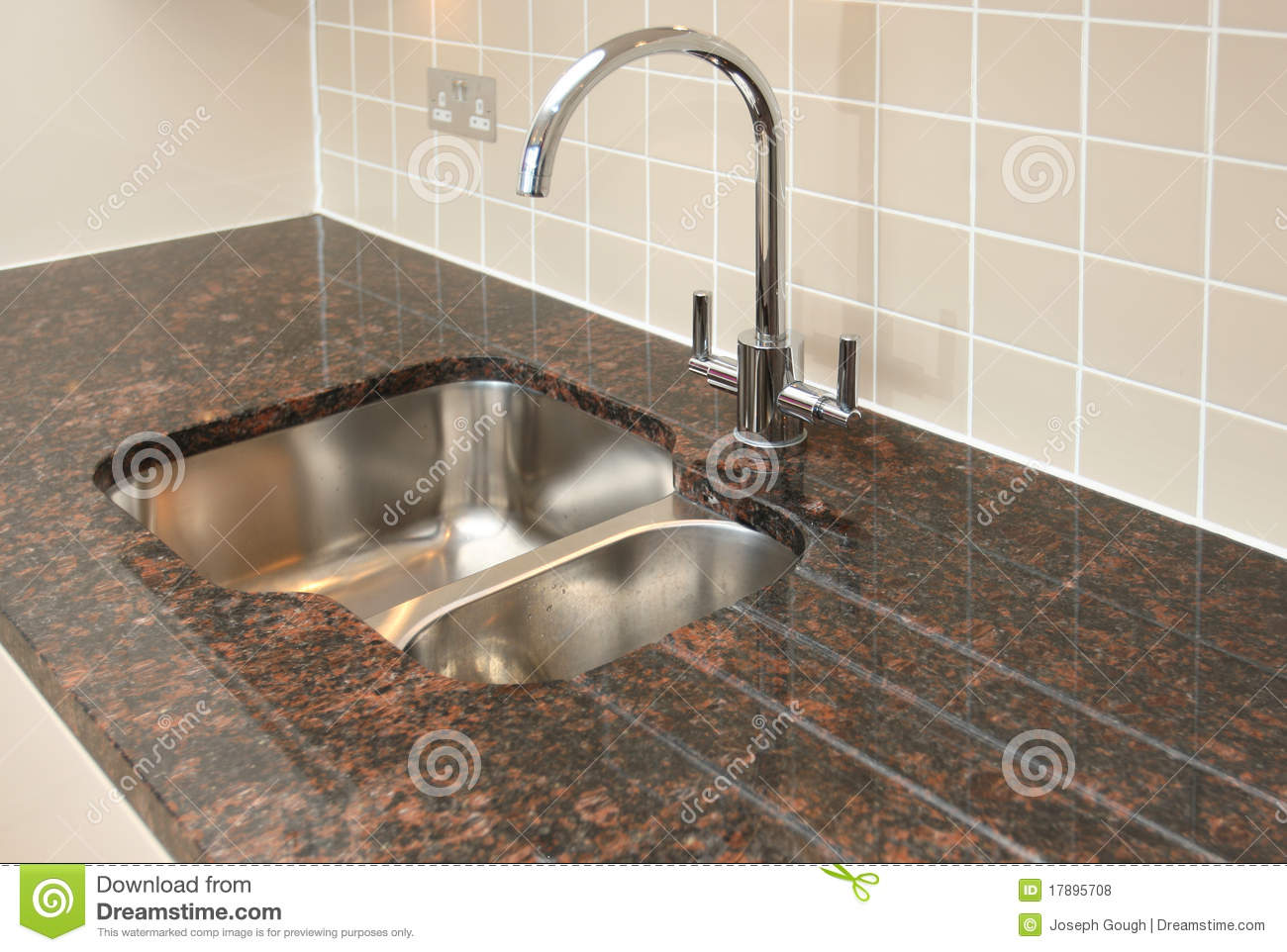 Kitchen Sink With Granite Worktop Stock Photo Image Of