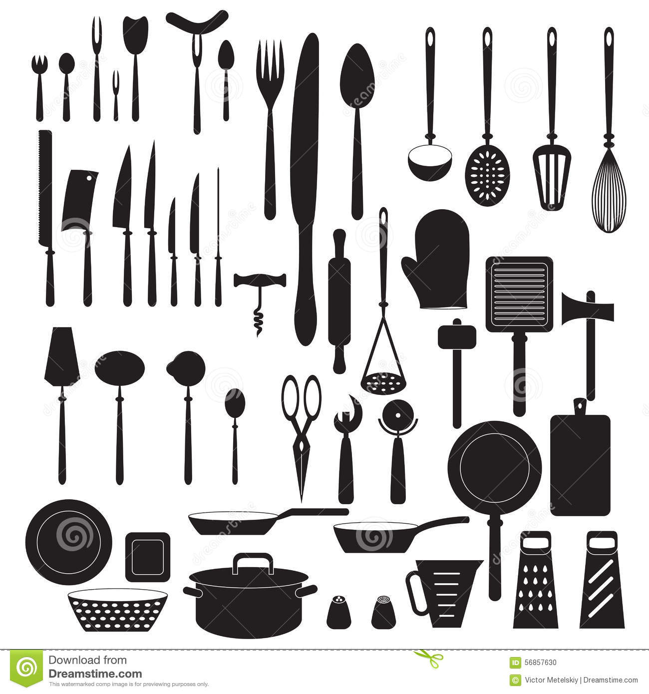 Kitchen Gadgets Online Kitchen Tool Icons Set Vector Silhouettes Stock Vector