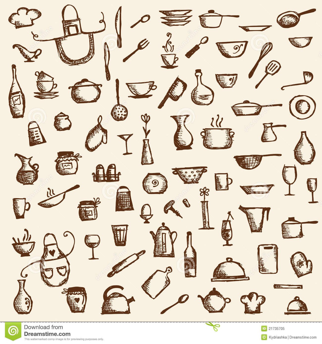 Cliparts Küche Gratis Kitchen Utensils Sketch Drawing For Your Design Royalty