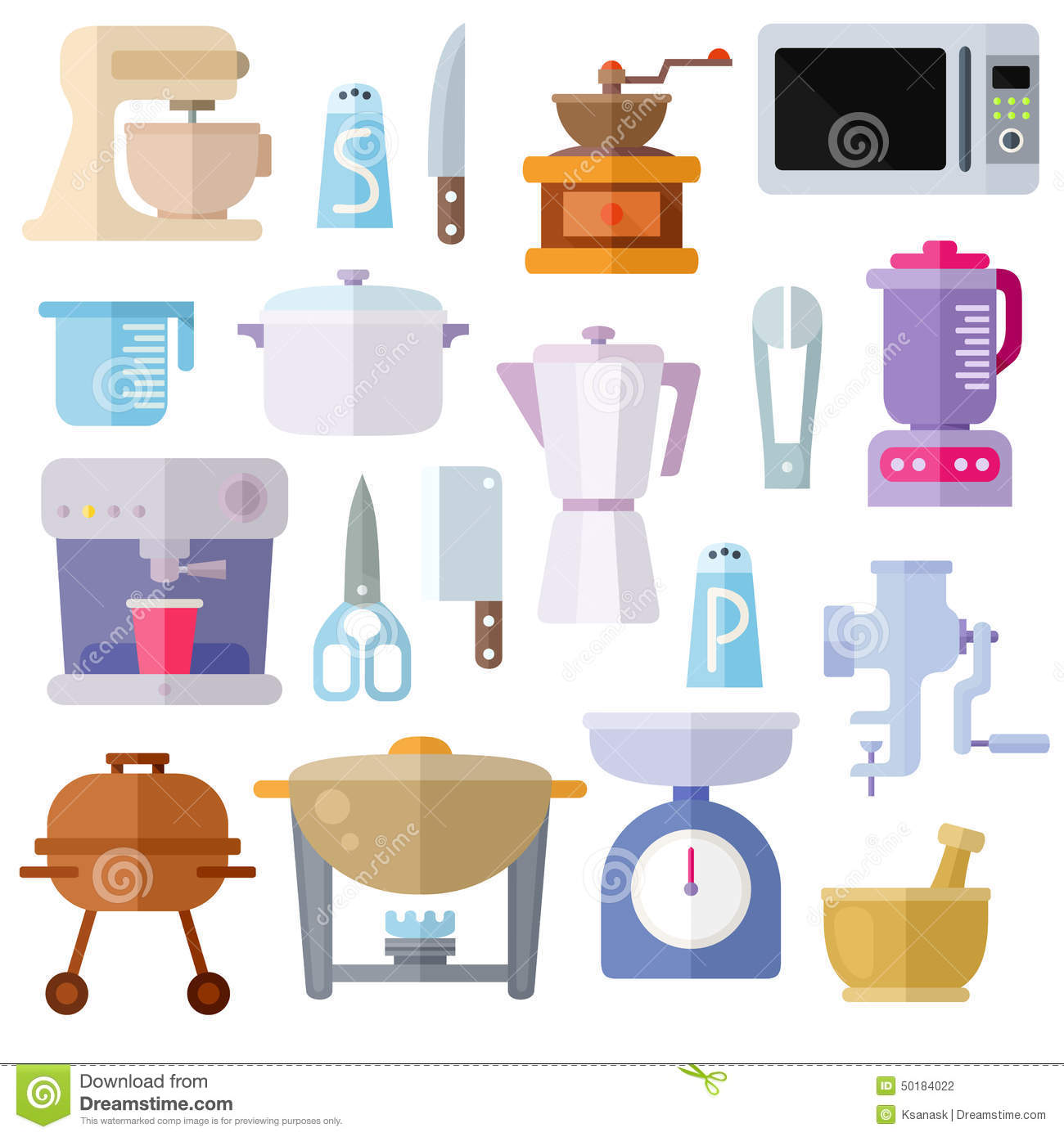 Objetos De Cocina Kitchen Utensils Theme Flat Icons On White Background