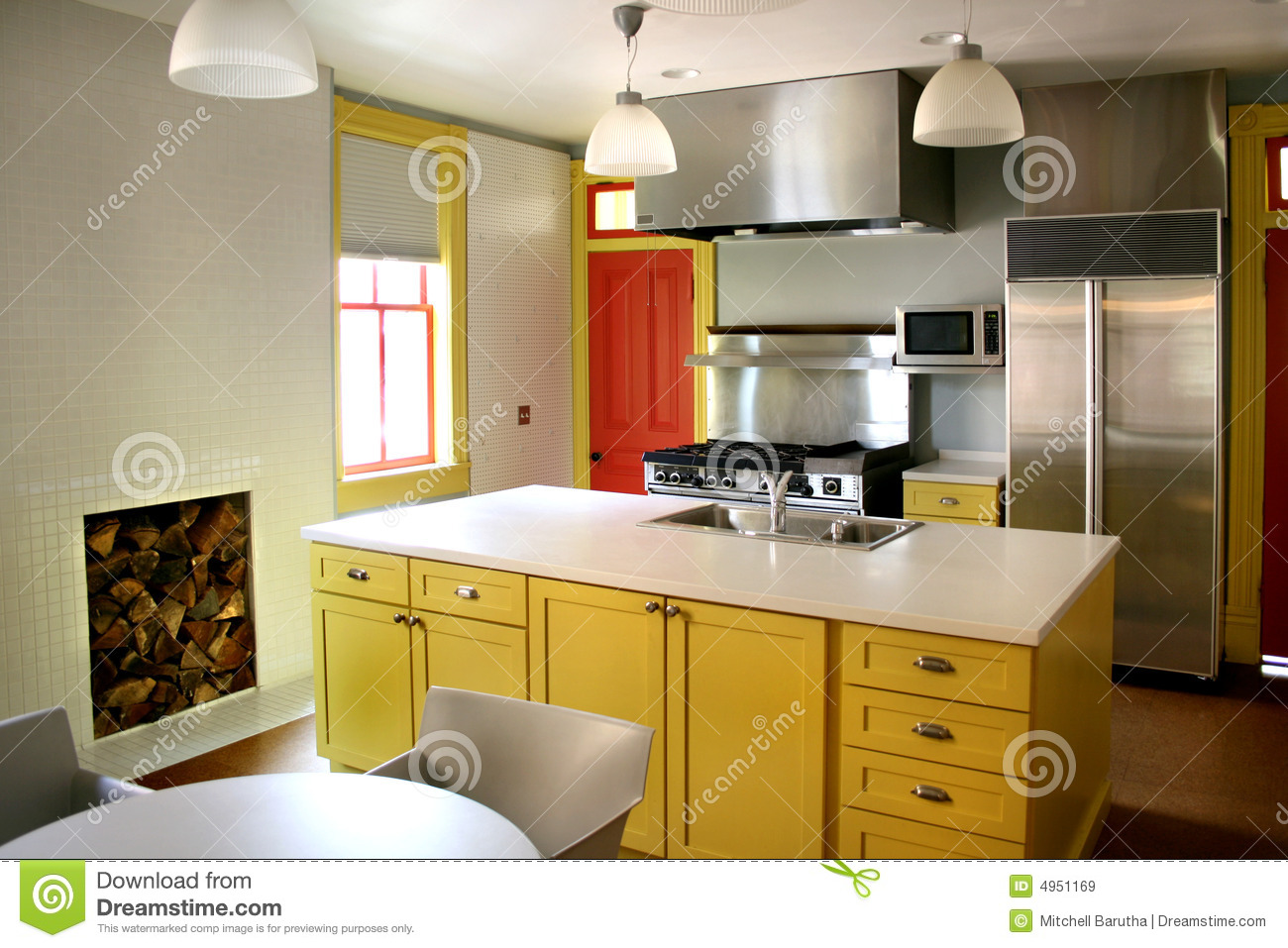 Light Yellow Kitchen Kitchen Yellow Wood Cabinets Stainless Stove Stock Image
