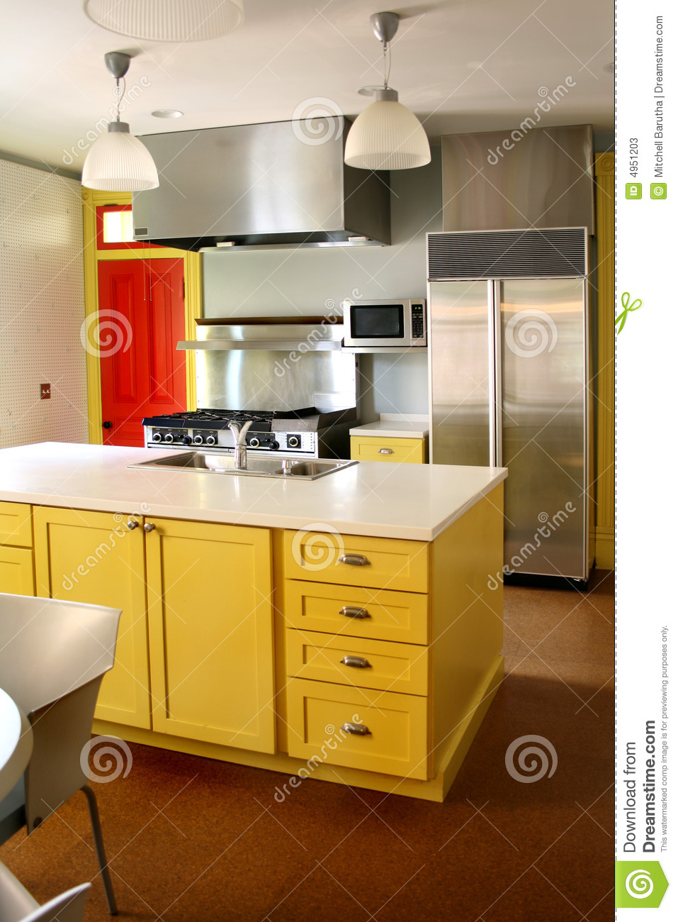 Eat At Kitchen Island Kitchen Yellow Wood Cabinets Stainless Stove Stock Photos