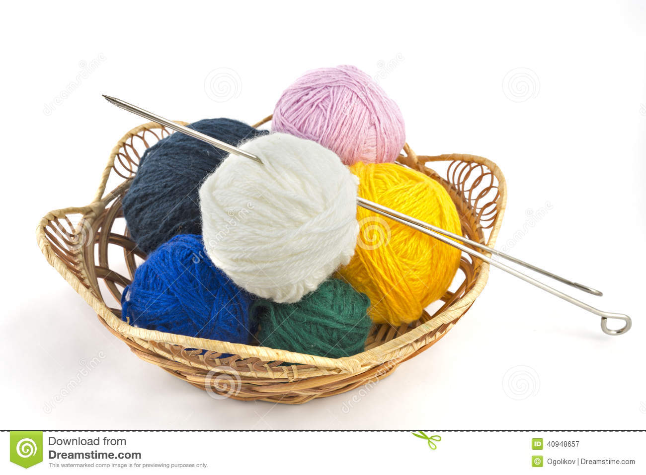 Rattan Yarn Knitting Yarn Balls And Needles In Basket On A White