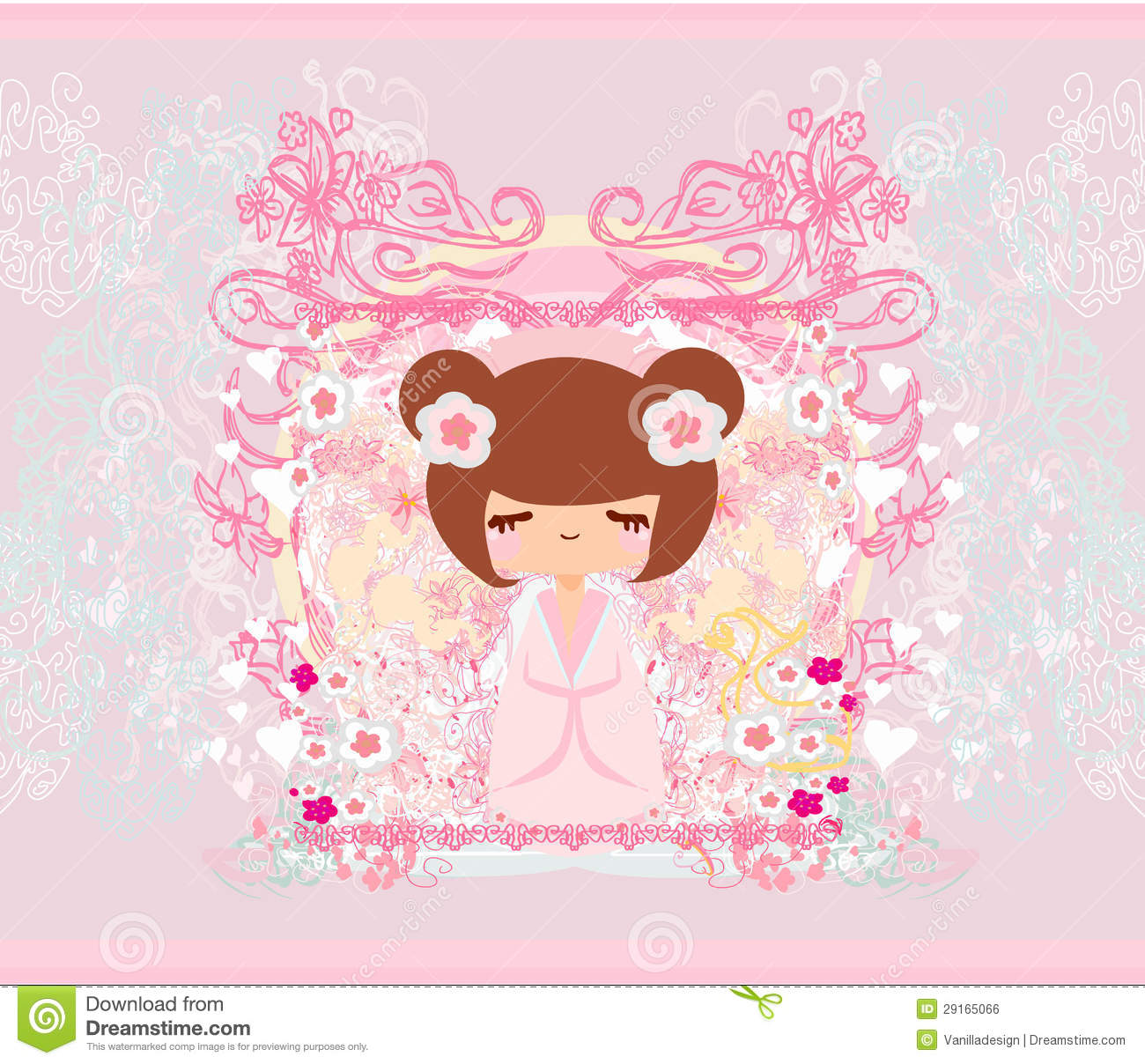 Alien Wallpaper Cute Kokeshi Doll On The Pink Background Royalty Free Stock
