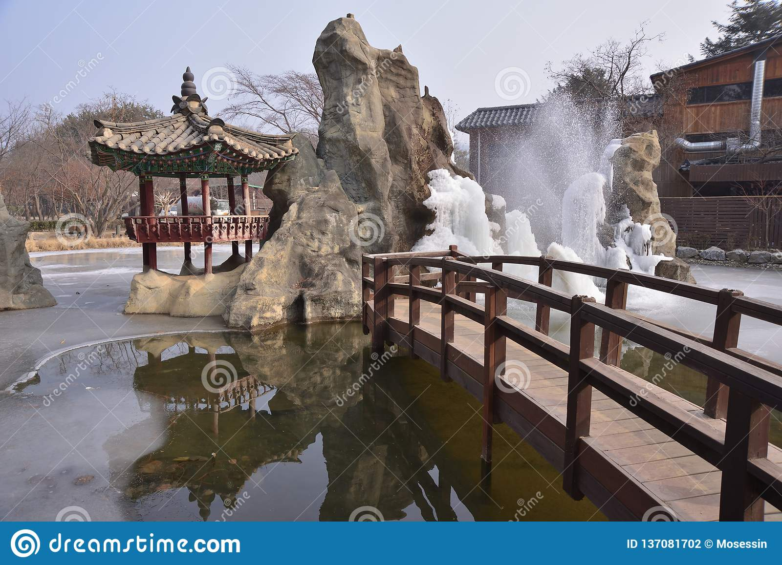 Frozen Fountain Korea Nami Island Ice Water Frozen Fountain Park Stock Photo