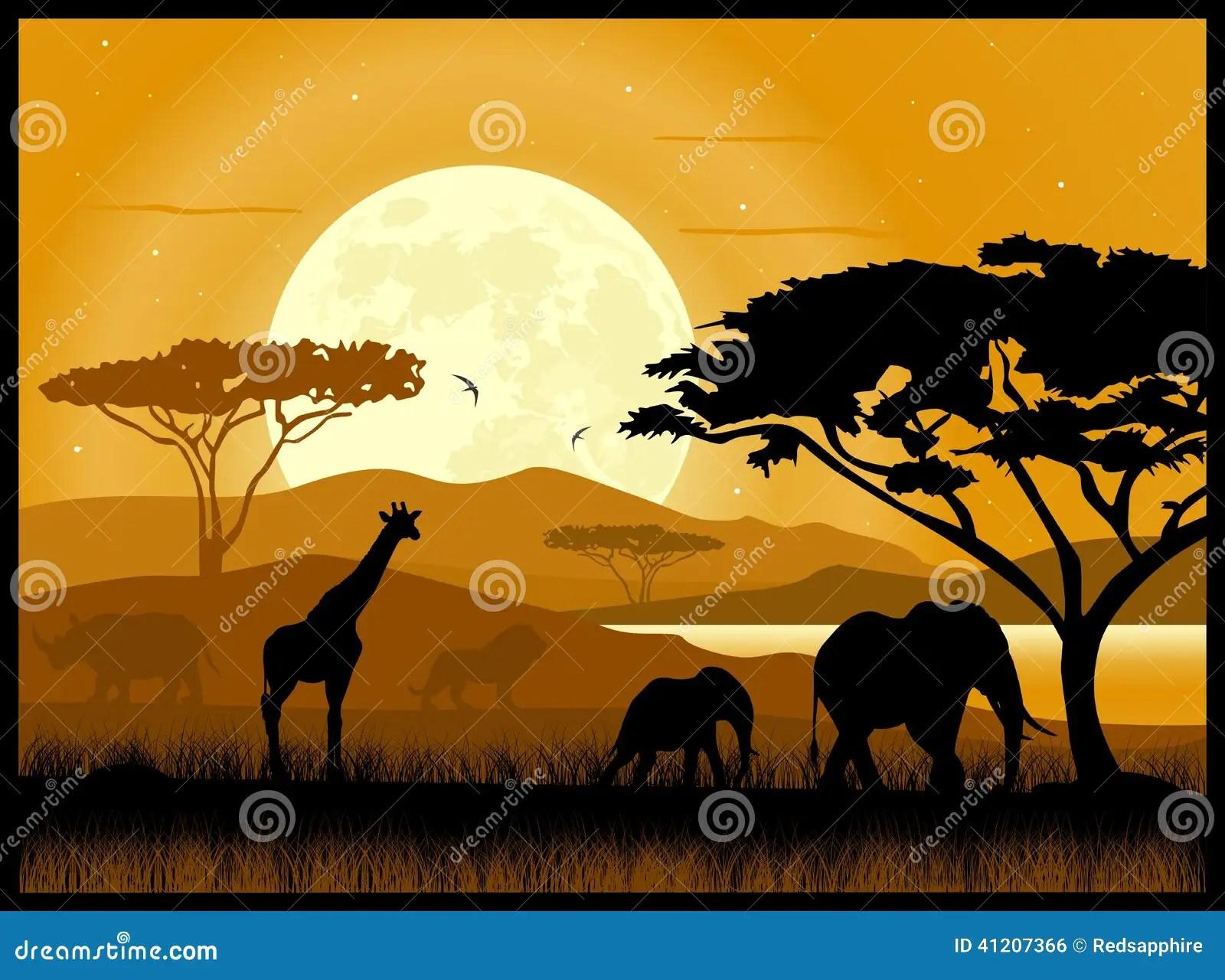 Safari Animal Wallpaper La Savane Africaine Illustration De Vecteur Image Du
