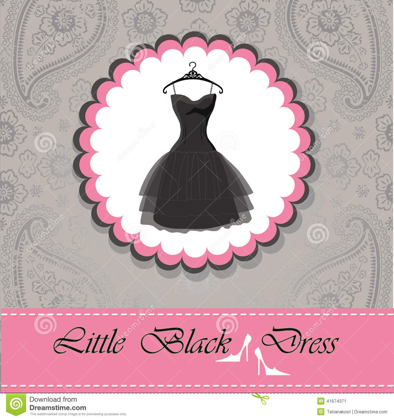 Cute Wallpapers Drawing Label With Little Black Dress Paisley Lace Background