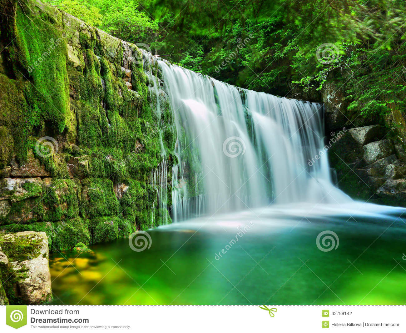 Free Desktop Wallpaper Fall Scenes Lac Emerald Waterfalls Forest Landscape Photo Stock