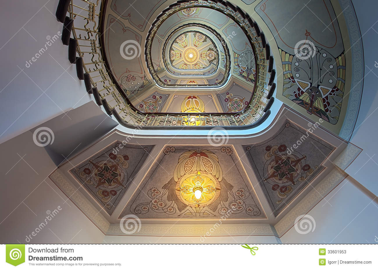 Art Nouveau Riga Museum Ladder In National Museum Of Art Nouveau In Riga Stock Image