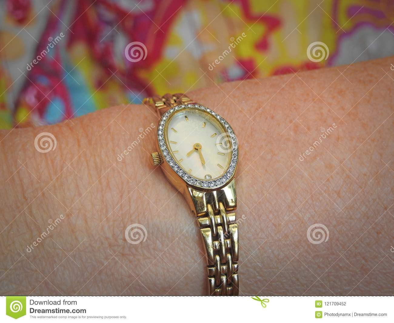 Oval Clock Face Ladies Gold Wristwatch Jewellery Timepiece Stock Photo Image Of