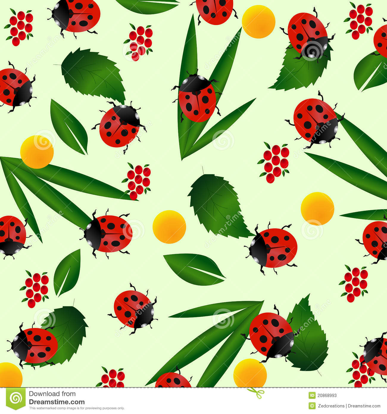 Fall Leaves Clip Art Wallpaper Ladybug Seamless Pattern Stock Photos Image 20868993