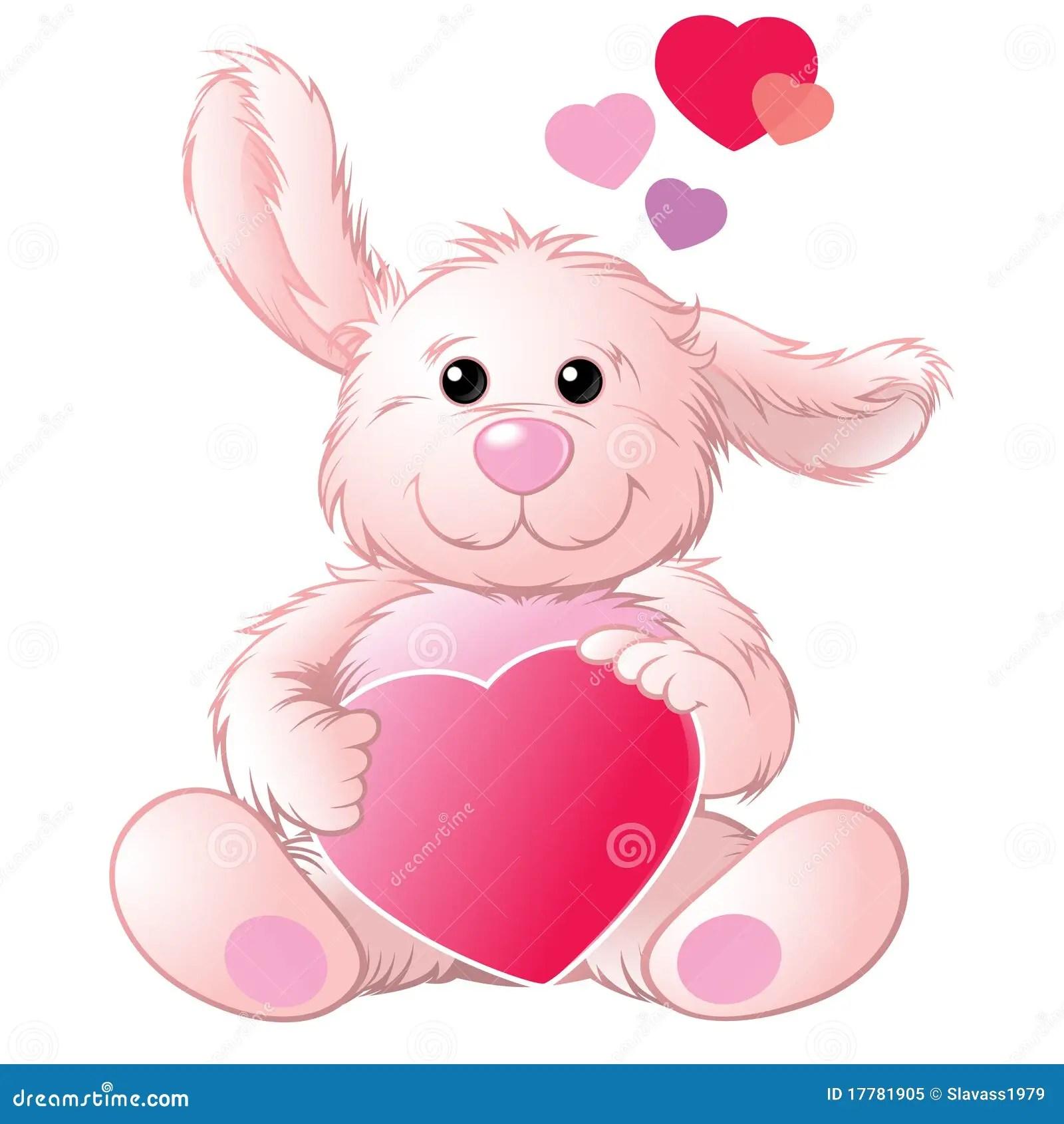 Cute Baby Rabbit Wallpapers Lapin Avec Un Coeur Illustration De Vecteur Illustration